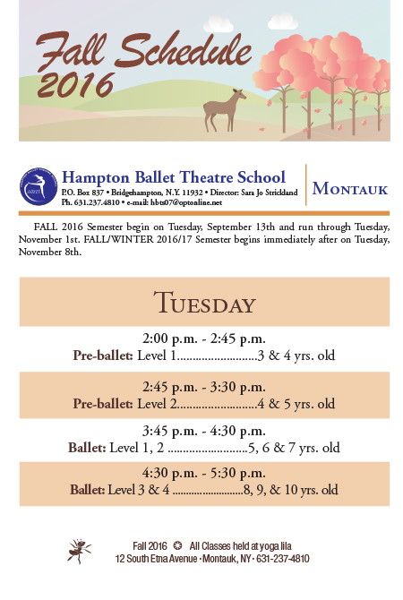 Hampton Ballet Theatre School 2016 Schedule